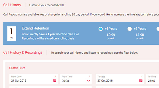 Includes 30 day rolling VoIP call recording archive