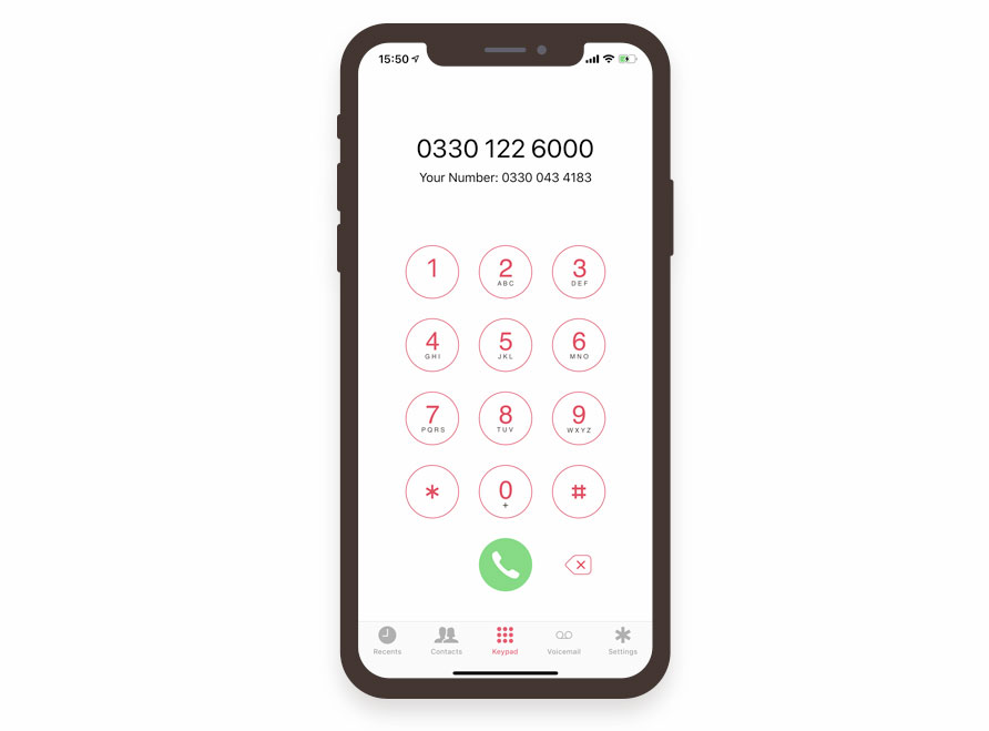 Free VoIP calling app for iPhone number page