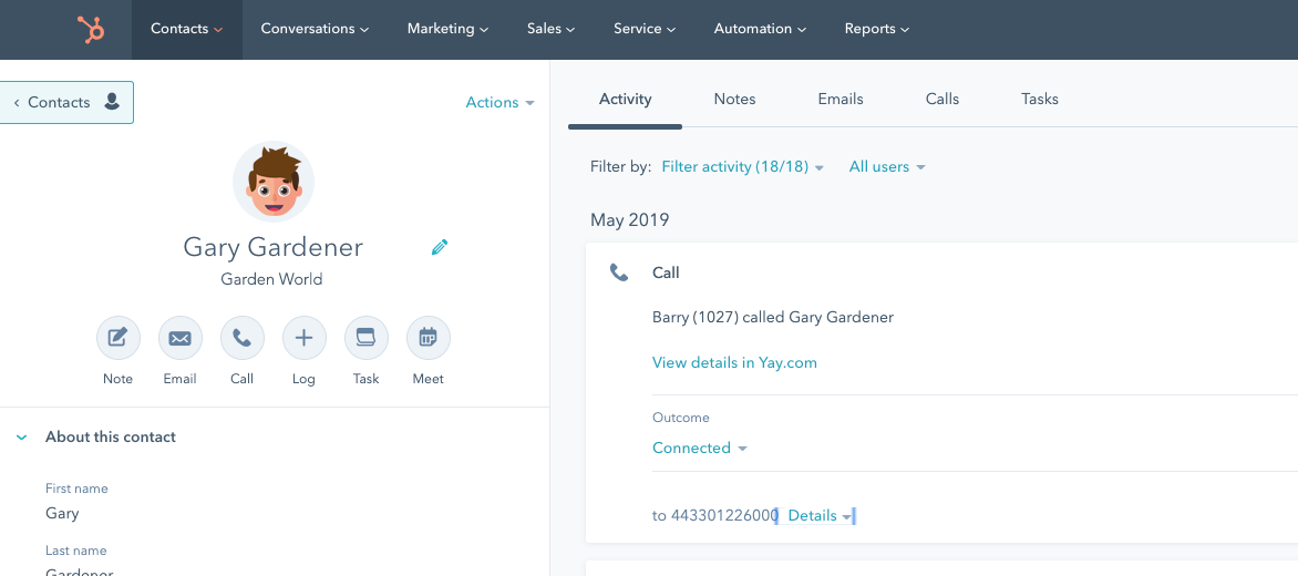 Hubspot CRM Click-to-Dial calling integration