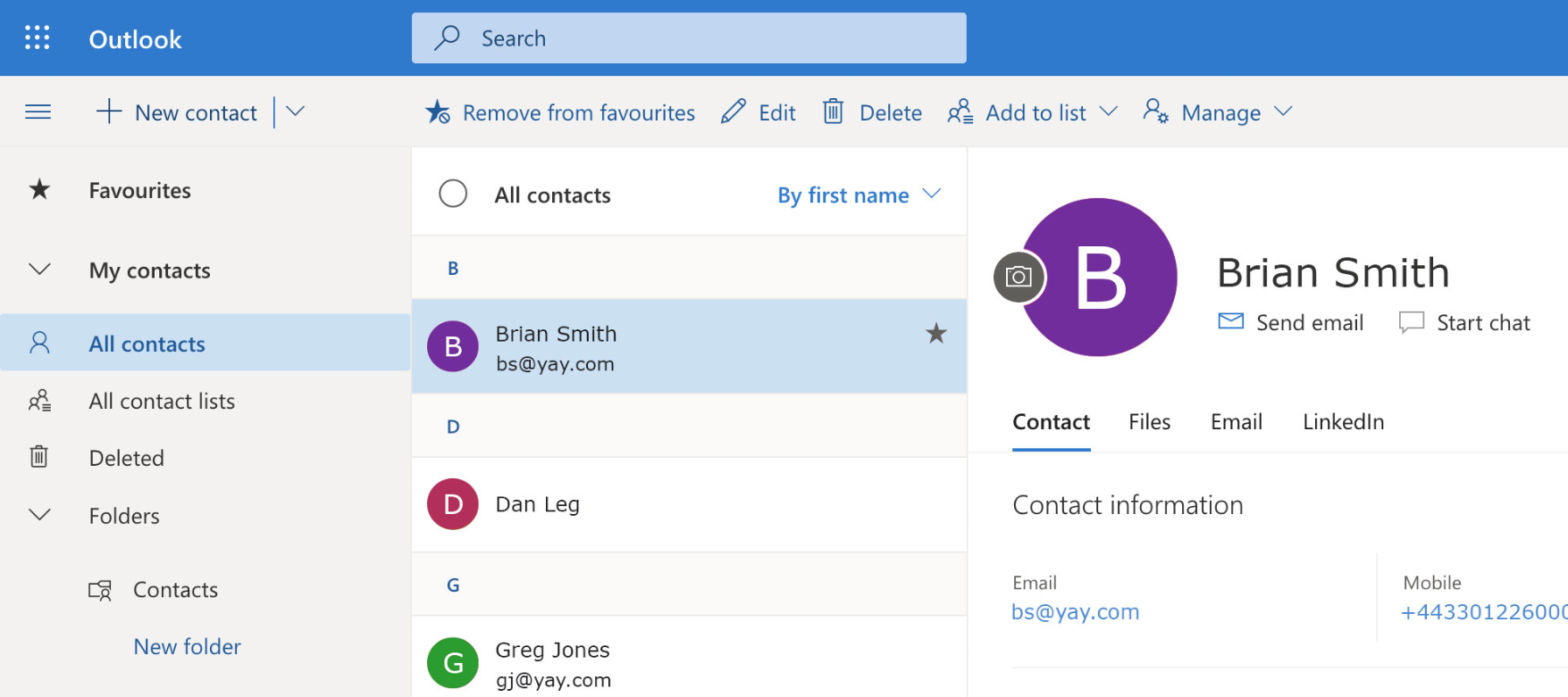 Identify inbound calls from your Outlook Office 365 contacts