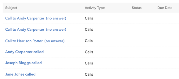Zoho CRM Call Activity Logs